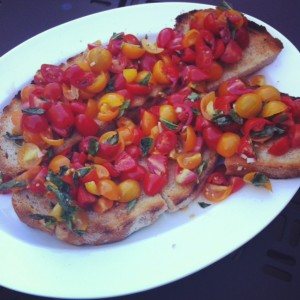 Bruschetta is a sublime use for stale bread, especially when the tomatoes are glorious.