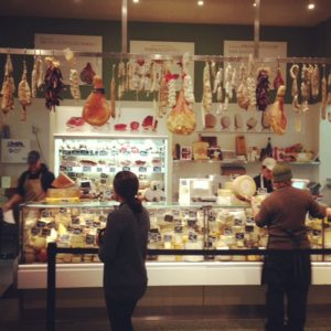 The cheese and charcuterie counter at Eataly.