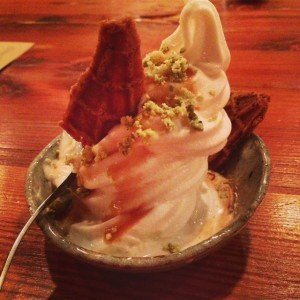 Eggnog soft-serve ice cream with Fernet caramel and, yes, cripsy bits of nori.