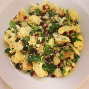 Fresh herbs and dried barberries add flavor and color to this salad of bulgur and roasted cauliflower.