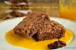 fudgy brownies with a tart and refreshing mango puree