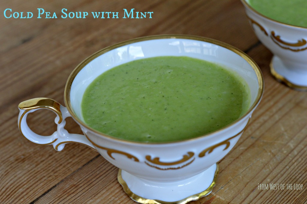 elegant first course cold pea soup with mint west of