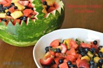 fruit salad in a watermelon basket