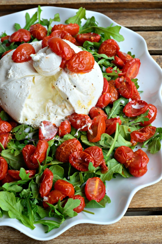 burrata-arugula-roasted-tomatoes