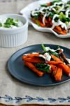 Sweet Potato Fries with Spinach and Mint Yogurt Sauce