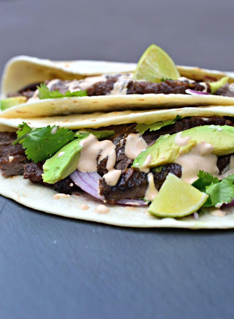 Skirt Steak Soft Tacos with Chipotle Crema - West of the Loop
