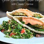 Grilled Mediterranean Chickpea Burgers with Creamy Harissa
