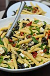 penne with black olives, sun-dried tomatoes, feta and spinach