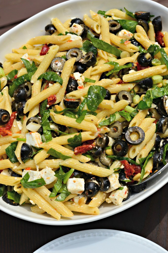 Penne with Black Olives, Sun-Dried Tomatoes, Feta and Spinach - West ...