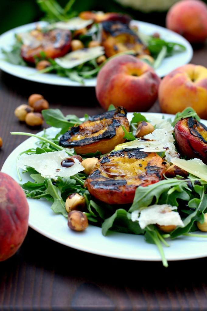 arugula hazelnuts peaches