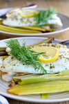 Tilapia with Lemon, Pepper and Herbs over Roasted Leeks