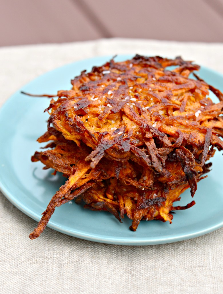 Sweet Potato Latkes with Harissa Yogurt - West of the Loop