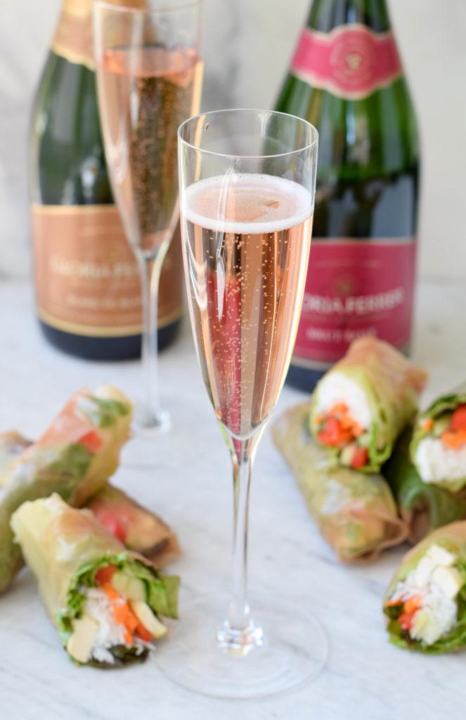vietnamese summer rolls with sparkling wine