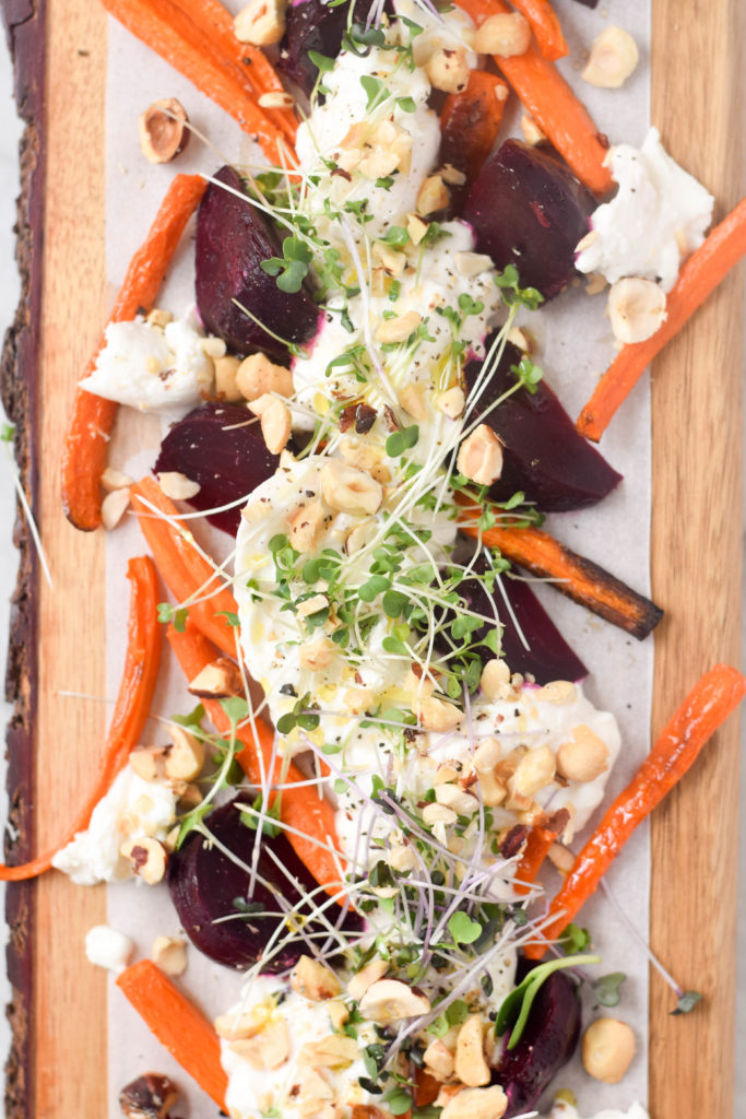 carrots, beets, burrata