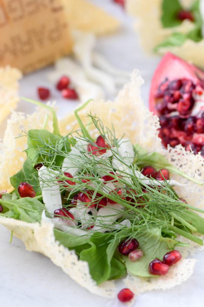 salad in parmesan bowls
