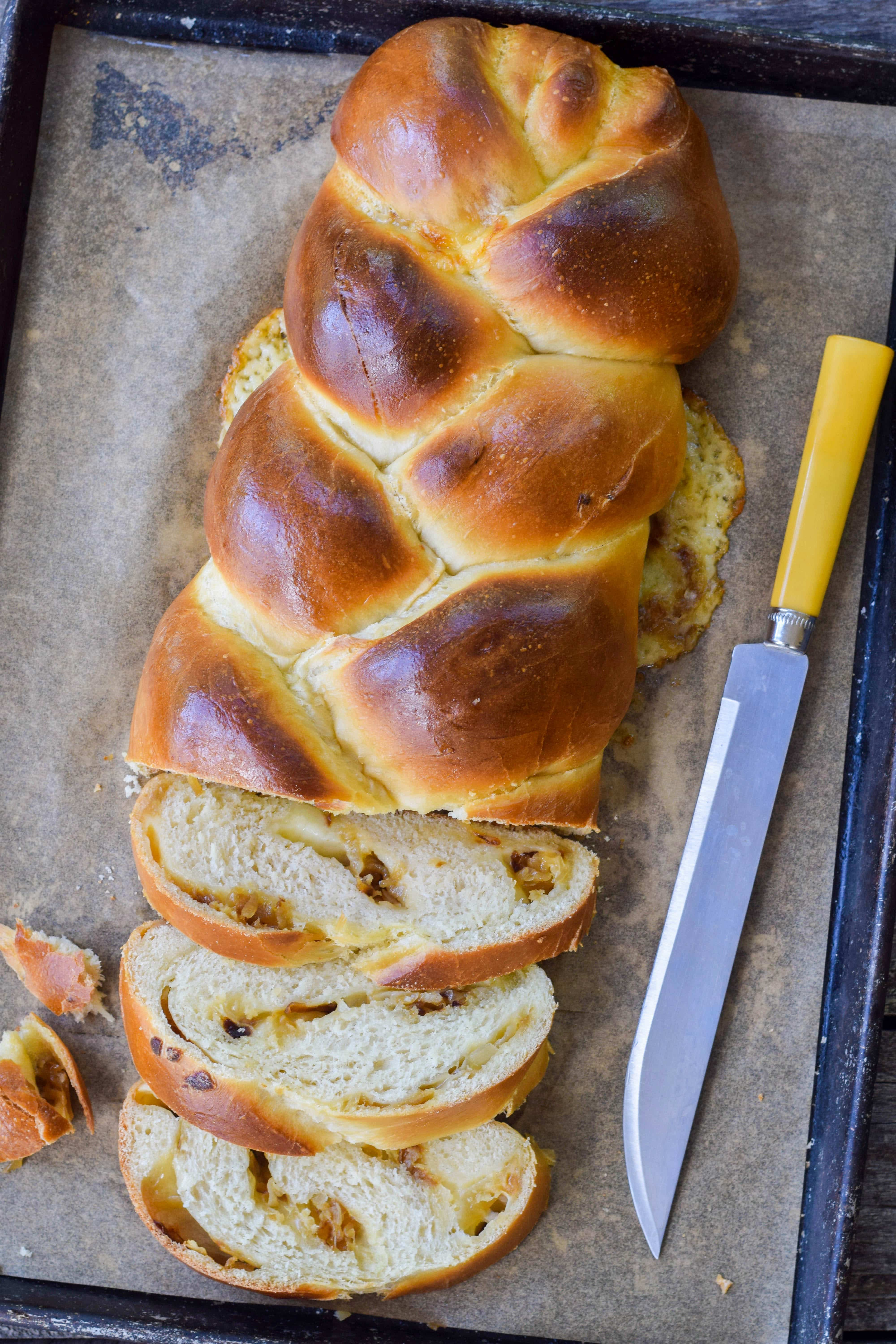 Cheddar And Onion Stuffed Challah Bread West Of The Loop